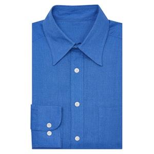 Blue Point Collar Linen Shirt