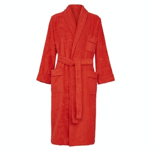 Red Cotton Towelling Single-Breasted Dressing Gown
