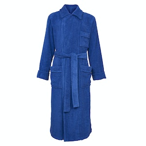 Blue Cotton Towelling Double-Breasted Dressing Gown