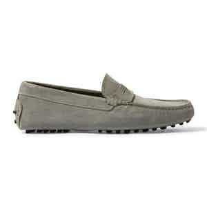 Grey Suede Michael Driving Loafers