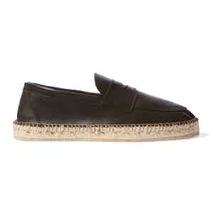 Brown Calf Leather Diego Espadrilles