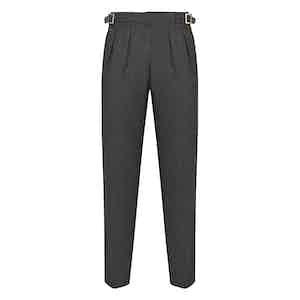 Dark Grey Wool Flannel Manny Trousers