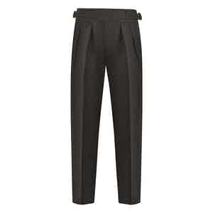 Green Wool Flannel Manny Trousers