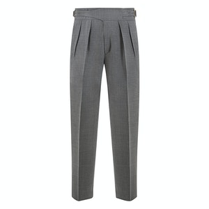 Grey Hopsack Wool Manny Trousers
