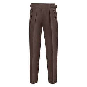 Brown Wool Flannel Manny Trousers