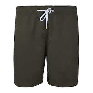 Military Green Nylon Swim Shorts