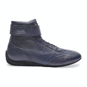 Navy Blue Leather Iconic High Driving Shoe