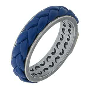Blue Silver Lash Leather Ring