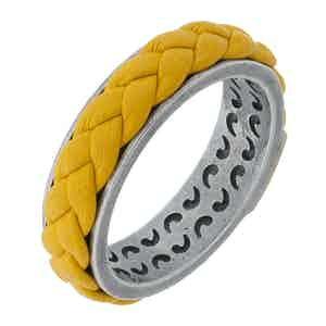 Yellow Silver Lash Leather Ring