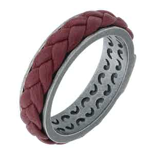 Red Silver Lash Leather Ring