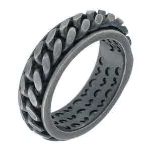 Black Silver Lash Chain Ring