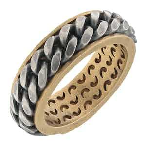 Yellow Silver Lash Chain Ring