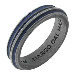 Blue Silver Acies Single Oxidized Ring
