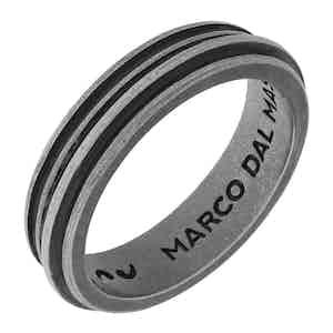 Black Silver Acies Single Oxidized Ring