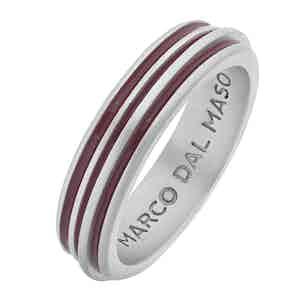 Red Silver Acies Matte Single Ring