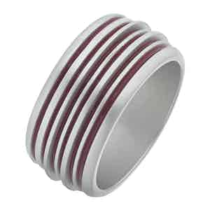 Red Silver Acies Double Matte Ring