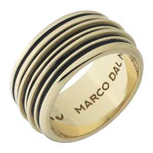 Black Silver Acies Double 18K Yellow Polished Ring