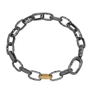 Black Oxidized Silver Warrior Link Bracelet