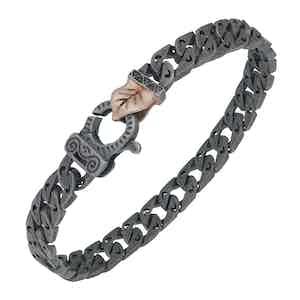 Black Silver Flaming Tongue Bracelet