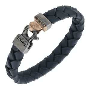 Blue Silver Lash Braided Leather Bracelet