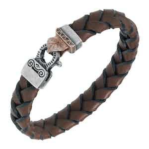 Brown Silver Lash Braided Leather Bracelet