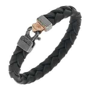 Black Silver Lash Braided Leather Bracelet