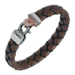 Brown Silver Lash Braided Leather Sapphires Bracelet