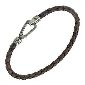 Brown Silver Lash Single Cord Bracelet