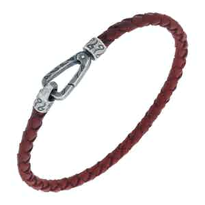 Red Silver Lash Single Cord Bracelet