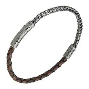 Brown Silver Lash Chain Leather Bracelet