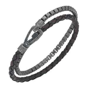 Brown Silver Braided Leather Chain Bracelet