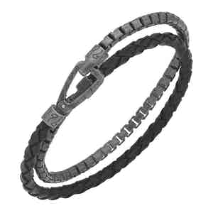 Black Silver Braided Leather Silver Chain Bracelet