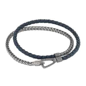 Blue Silver Lash Braided Chain