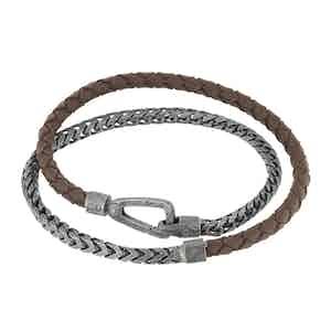 Brown Silver Lash Braided Chain