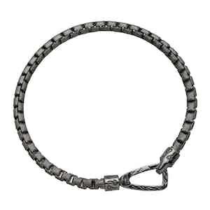 Black Silver Carved Tubolar Ulysses Polished Bracelet