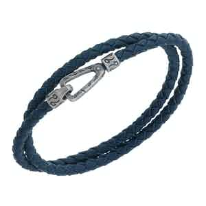 Blue Silver Lash Smooth Double Cord Bracelet