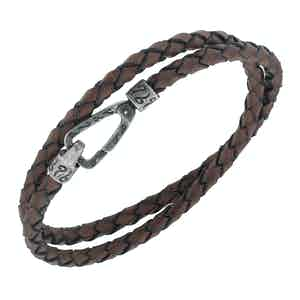 Brown Silver Lash Smooth Leather Double Bracelet
