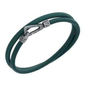 Green Silver Lash Smooth Double Bracelet