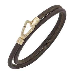 Brown Silver Lash Smooth Double Bracelet