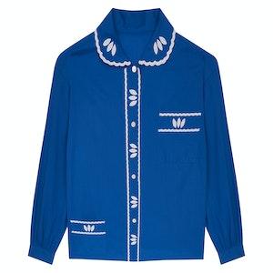 MAJORELLE BLUE COTTON WITH WHITE EMBROIDERY PYJAMA SET