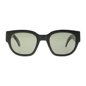 Midnight Black Acetate Bottle Green Lens Sunglasses