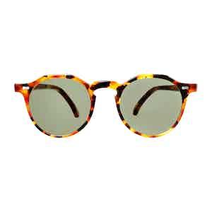 Brown Classic Tortoiseshell Acetate Bottle Green Lens Lapel Sunglasses
