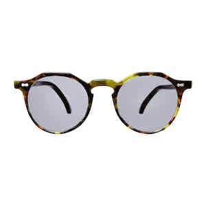 Green Tortoiseshell Acetate Gradient Grey Lens Lapel Sunglasses