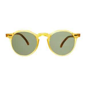 Honey Acetate Bottle Green Lens Lapel Sunglasses
