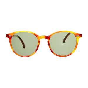 Brown Classic Tortoiseshell Acetate Bottle Green Lens Sunglasses