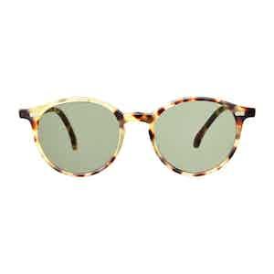 Light Tortoishell Acetate Bottle Green Lens Sunglasses