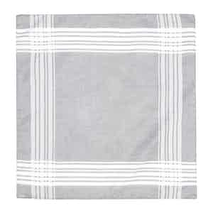 Light Grey and White Cotton Pocket Square