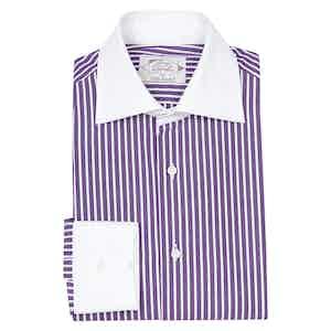 Purple Cotton Striped Contrast Collar Shirt