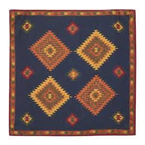 Navy Blue and Orange Wool Bold Pattern Pocket Square