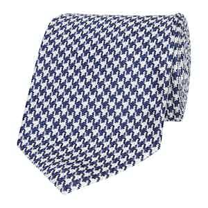 Navy Blue and White Silk Micro-Check Tie